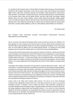 Finance Watch Letter to EU policymakers