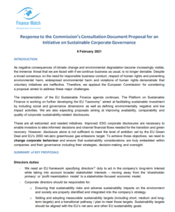 Finance Watch Cover page: Consultation response
